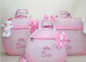 3 bolsas maternidade personalizadas com nome do bebê bordado
