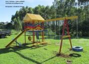 Multi brinquedo playground madeira c/ 15 brinquedo