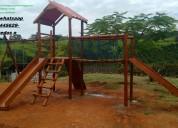Playground de eucalipto brinquedos para parque bri