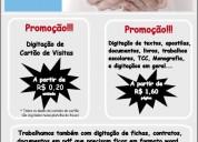 Digitação de contatos de cartões de visitas