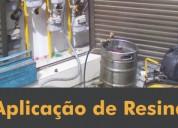 Aplicação de resina em tubulações