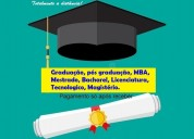Diplomas de graduação e pós e pg só após receber