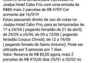 Cota joalpa hotel cabo frio r 100 de entrada, contactarse.