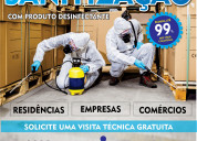 Sanitização com produto desinfectante